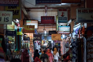 inside Bring Hardjo market. this market is famous for its cheap, printed batik clothing..