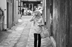 Mum, walking down an alley