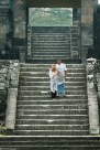 Mum and Dad on stairs leading up to the main Ratu Boko temple
